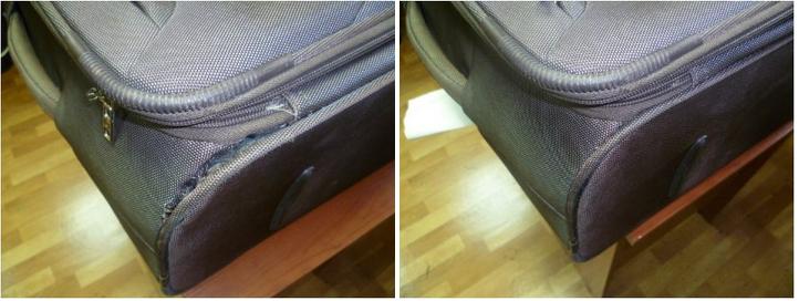 замена молнии чемодана